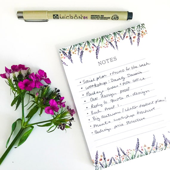 Lavender Notepad | A6 To Do List - great for list making, wedding planning and organisation!