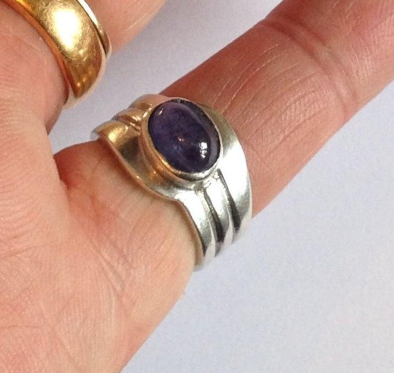 Solid Sterling Silver Grooved Bezel Set Oval Natural Blue Tanzanite Gemstone Ring Size UK L.5 US 6