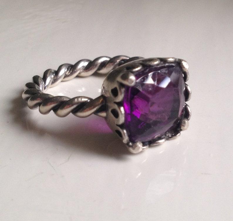 US 7 Designer Solid Sterling Silver 925 Prong Set Faceted Purple Pink Amethyst Gemstone Ring Size UK N