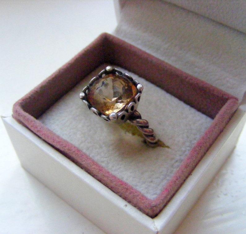 Designer Solid Sterling Silver 925 Prong Set Square Cushion Natural Champagne Topaz  Gemstone Ring Size UK P US 7.5