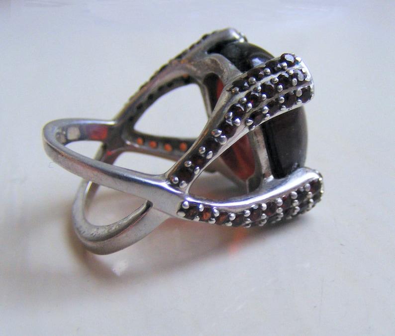 Substantial Vintage 11.8g Solid Sterling Silver 925 Signed Prong Set Large Red Burnt Orange Hessonite Garnet Gemstone Ring Size UK O US 7