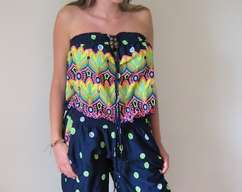 701bef975c 90s does 70s psychedelic jumpsuit   Onesie playsuit catsuit   Neon   Polka  Romper   Small Medium