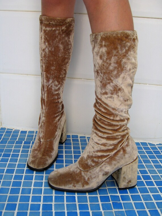 60s Go GO boots / Italian golden velvet vintage di