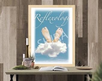 Reflexology Practice Art, Reflexology Room Decor, Reflexologist Gift, Massage Therapist Gift, Podiatry, Foot Massage Print, Foot Reflexology