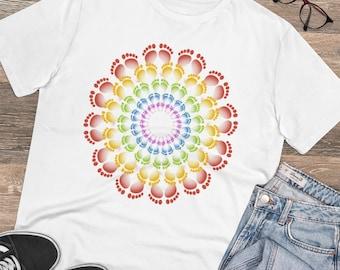 Organic Unisex T-shirt, gift, reflexology, reflexologist, holistic health, holistic therapy, T-shirt, alternative, Rainbow feet mandala