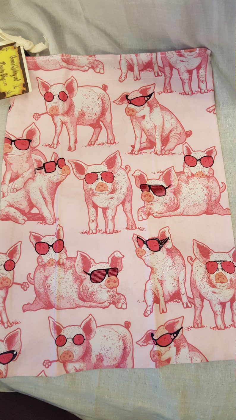 Project bag busy bag Item EPJB38 pigs in sun glasses  pattern cotton drawstring bag gift bag Made in the USA.