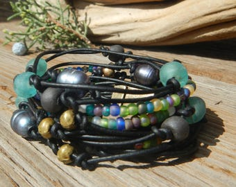 Boho Wrap Bracelet,  Leather Wrap,  Beaded Wrap,   Leather Bracelet,  Wrap Leather Bracelet JEWELRY