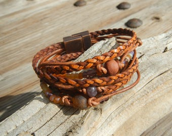 Leather Wrap Bracelet ,Boho Wrap Bracelet,  Leather Wrap,  Beaded Wrap, Leather Bracelet,  Wrap Leather Bracelet, braided leather bracelets