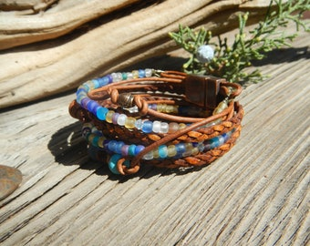 Boho Jewelry, Leather Wrap ,Bracelet Boho, Wrap Bracelet,  Leather Wrap,  Beaded Wrap,  Leather Bracelet  ,Wrap Leather ,