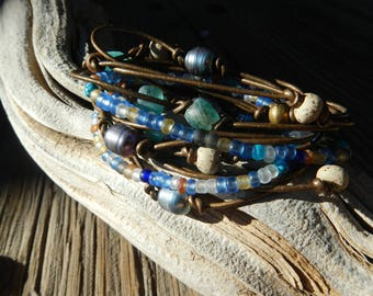 Jewelry, Bracelet , Boho Wrap Bracelet,  Leather Wrap ,Beaded Wrap, Leather Bracelet ,Wrap Leather, gift for her ,leather  ,Natural Leather