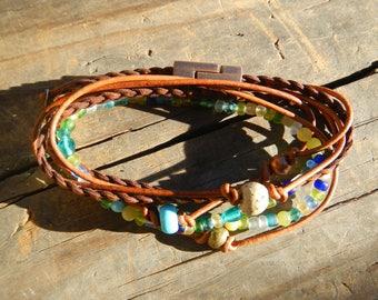 Boho Wrap Bracelet  Leather Wrap Bracelet  Leather Wrap Wrap Bracelet Leather  Beaded Wrap Leather Bracelet beaded wrap