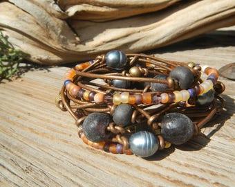 Leather Wrap Bracelet, Boho Wrap Bracelet,  Leather Wrap,  Beaded Wrap,  Leather Bracelet,  Wrap Leather Bracelet JEWELRY