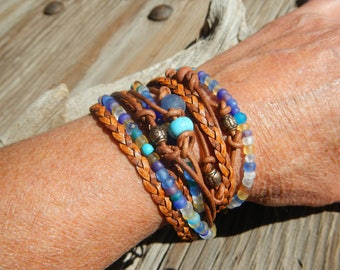 braided leather bracelets for women , Leather Wrap Bracelet, Boho Wrap Bracelet,  Leather Wrap,  Beaded Wrap,  Leather Bracelet Wrap JEWELRY