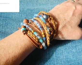 Boho Wrap Bracelet,  Leather Wrap Bracelet,  Leather Wrap, Wrap Bracelet Leather,  Beaded Wrap ,Leather Bracelet,  JEWELRY