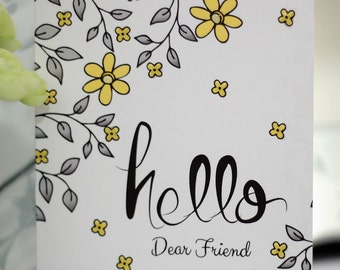 Flower Note Card, Yellow White and Gray Flower Note Card, Hello Dear Friend Note Card, Doodle Flower Note Card