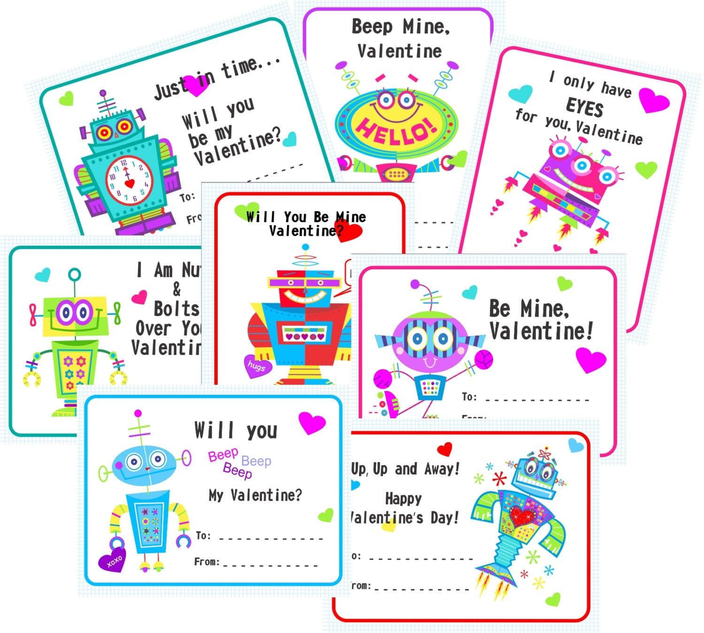 Valentine Robot Exchange Cards - Robots Digital Download Print Set of 8,  Gift Tags