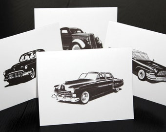 Classic Vintage Car Note Card Stationary Set -  Set of 8