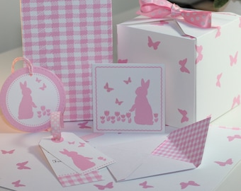 DIY Digital Gift Tag and Paper Packet - Mini Note Card, Envelope Gift Tags and Paper; Pink Bunny, Butterfly