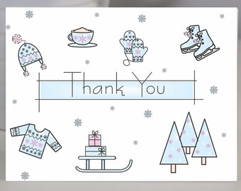 Snowy Winter Fun Thank You Stationery Note Card Set of 8
