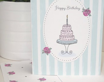 Digital Download Whimsical Birthday Note Card, Note Card Insert, Envelope and Patterned Liner