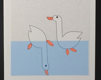 Two Swimming Geese - Notecard