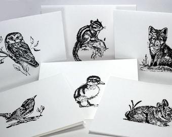 Woodland Animal Stationery Set of 12 Note Cards with Envelopes