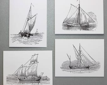 Classic Sailboat Stationery.  Set of 8 Notecards and White Envelopes.