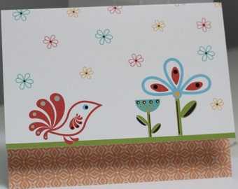 Whimsical Floral Note Card Stationery - Set of Six Cards