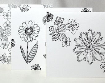 Set of 6 Black and White Doodle Flower Stationery Note Cards with Envelopes