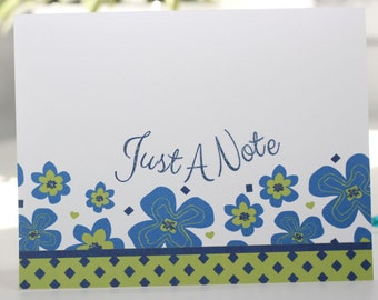 Green and Navy Flower Note Card Stationery - Set of Six Cards with Envelopes