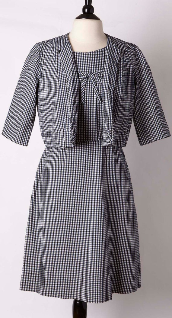 1960s gingham black blue white dress set. Townfiel