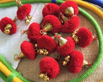 Woolen Pom Poms Handmade Pom Poms Balls with Wire Hook Craft and Decoration Supply -40 pcs Orange with hook n cap Yarn Balls