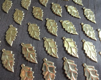 Jewelry Supplies Big Leaf Charms Leaf Pendant Gold Plated Indian Brass Charms 100 Pcs  Brass Leaf Charms