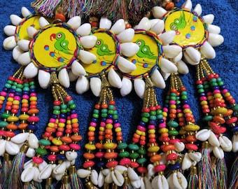 Silk Tassels Ethnic Handbag Decoration Set of 2 Yellow Indian Brass Charm Tassels Latkans Jute Tassels Camels Swag BOHO Decoration