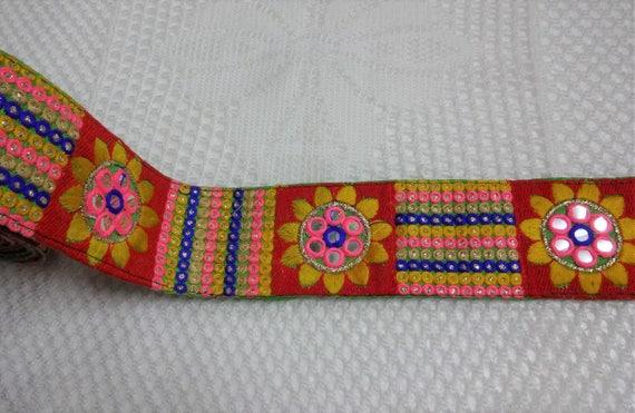 Cinta de 1 yardas último indio Bordada Adorno Sari frontera Decorativo Artesanal De Encaje