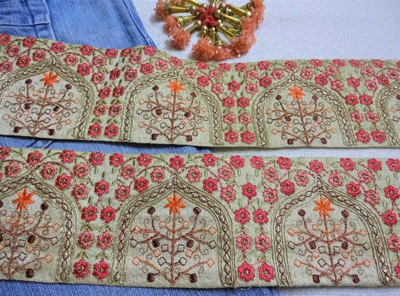 1 yard Indian Embroidered Trim,Craft Trim,Beige Decorative Ribbon,Floral Zari Trim,Sari Border,Wedding,Bridal,Designer Sewing Laces