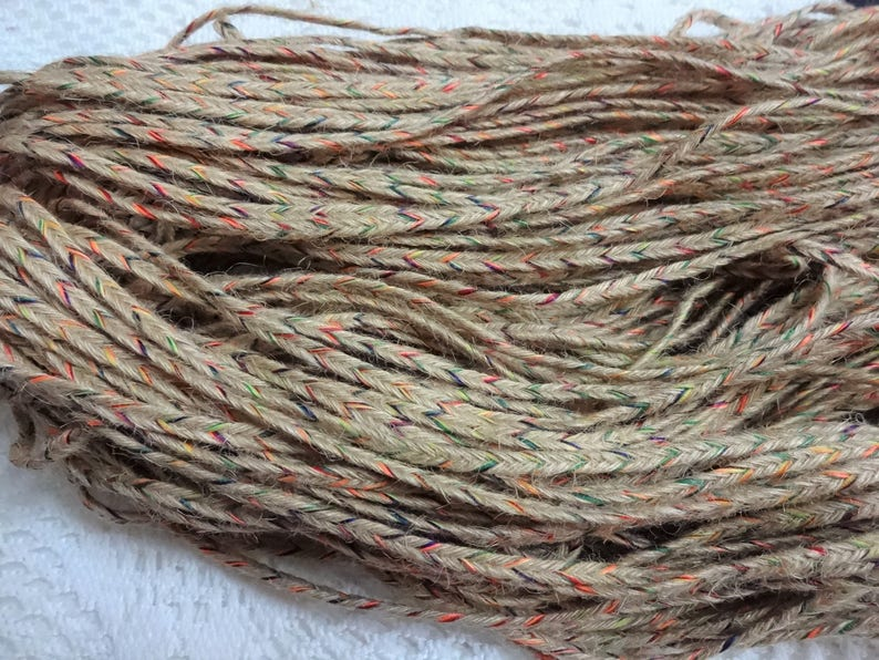 Indian Jute, Jute Threads, Jute Yarn Braided with Multi Colour Threads -  Braided Jute Twine, Natural jute - 450 grams