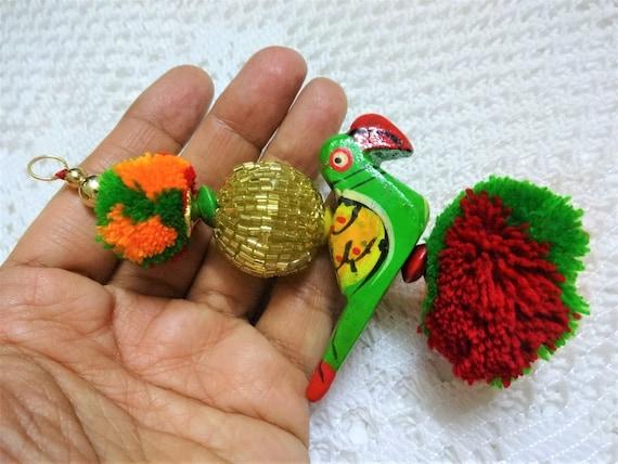 Beaded Tassels Long Tassels BOHO Gypsy Decoration Silk Tassels Indian Coin Tassels set of 2 Wooden Elephant Tassels