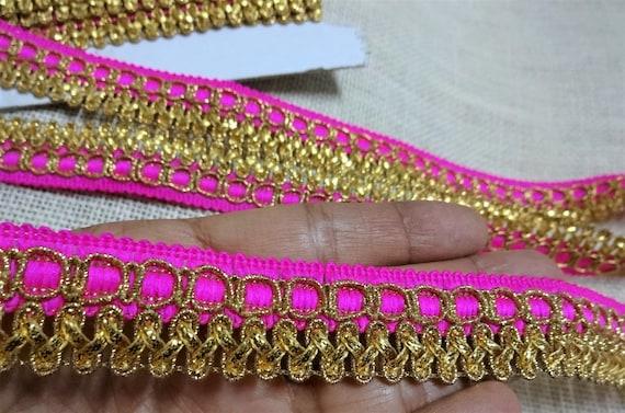 Indien brodé de garniture dentelle / Trim - ruban de métier, une garniture de rose Zari, frontière de Sari, dentelle décorative, tissu dentelle - 9 Yards 5408c9