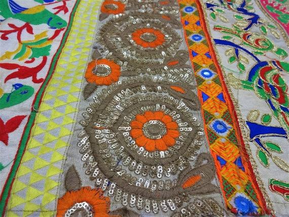 Tissu indien, tissu brodé, dentelle Textile travail tissus, Textile dentelle indien, Boho Decor, couture approvisionnement, Zari tissu 25
