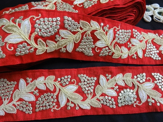 Handcrafted in India 6 Designs 3 mtr Floral Embroidered Cotton Velvet Ribbon