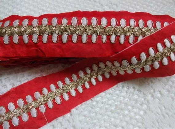 Bordé dentelles de dentelles Bordé Indiens, indienne, tissu dentelle, ruban décoratif, embellissement, galon brodé rouge, Sari Border - 9 Yards 3c1491
