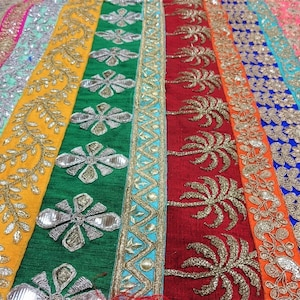 44 x1 yard India Textile Colorful Wall Hanging Sewing Supply Boho Home Decor Decadent Diamonds Embroidered Silk Fabric from Rajasthan