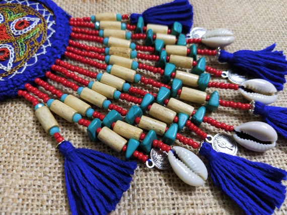 Kutch Applique Beaded Necklace Pendant Banjara Tribal Jewelry Gypsy BOHO Decoration Indian Tassel Purse /& Handbag Decoration 1 pc
