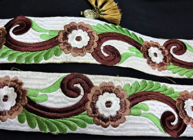 6 Designs Handcrafted in India 3 mtr Floral Embroidered Cotton Velvet Ribbon
