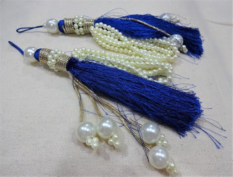 Beaded Tassels Tassels Indian Tassels Embellishment Silk Tassels Latkans Decorative Tassels 2 pcs Blue Sari Blouse Tassels