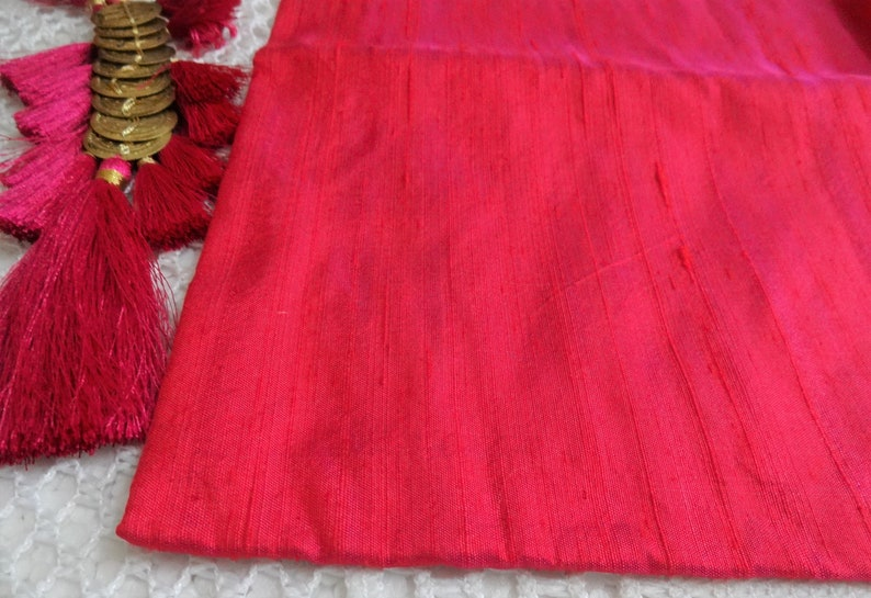 Two Tone Bag of Larger Scraps 3 pcs Raw Silk fabric Detash Fabric -Indian Pure Dupioni Silk Fabric Plain Silk