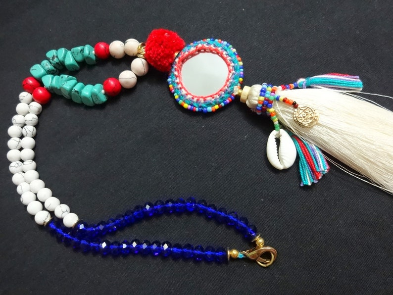 1 pc Mirror Necklace with Cowry Shell Beaded Ethnic Necklace Indian Tassel Necklace with Gemstone Beads Boho gypsy Necklace