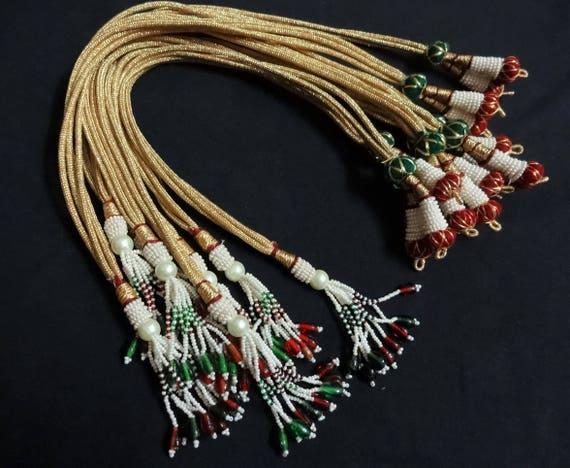 e9de65d8432d8 Adjustable Handmade Necklace Thread,Indian Necklace Jewelry Cord, Jewelry  Supplies, Zari Dori - set of Six