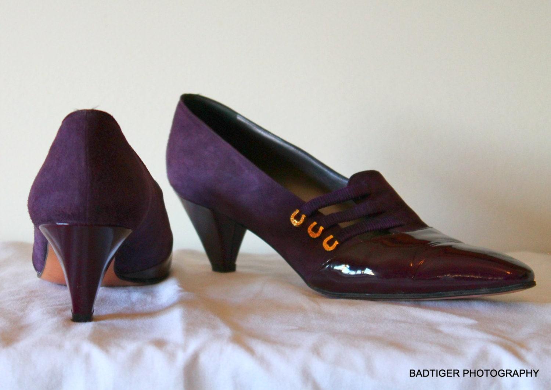 01e5ae229e70c Purple Kitten Heel ROBERTO CAPUCCI VINTAGE Italian Purple Patent ...